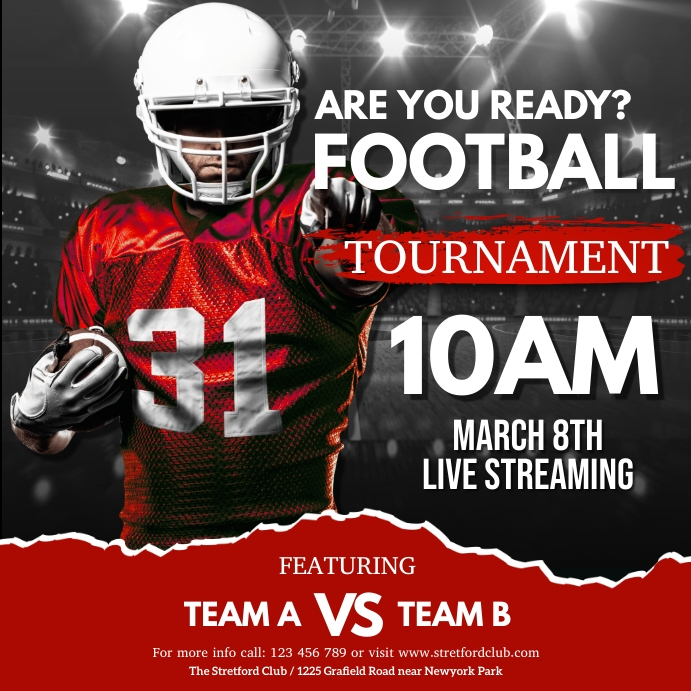 football, american football, rugby Square (1:1) template