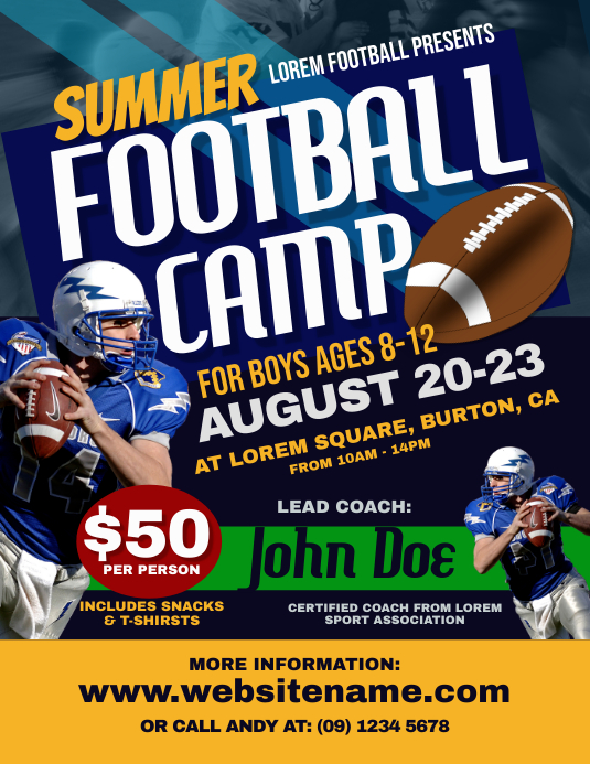 Football Camp Flyer Template Postermywall