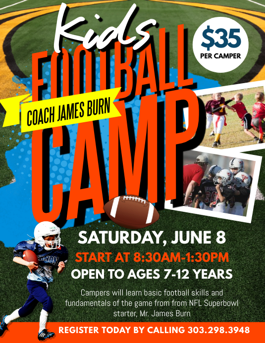 Kids Football Camp Flyer Template Postermywall