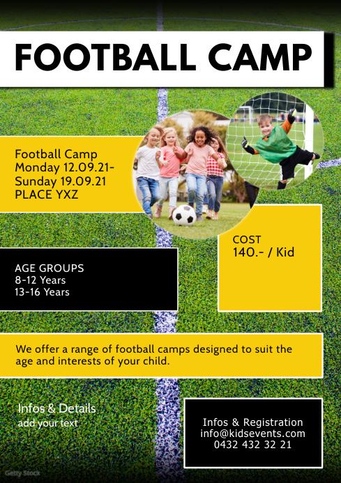 Football Camp Sport Week Kids Holiday Sport A4 template