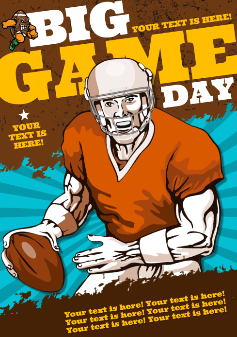 FOOTBALL GAME POSTER A4 template