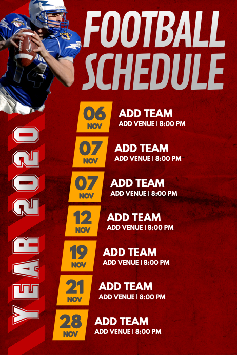 Football Game Schedule Poster