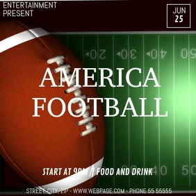 Football game video flyer template Square (1:1)