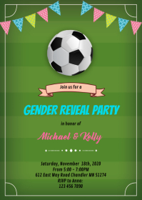 Football gender reveal invitation