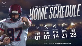 Football Home Schedule Template Facebook Cover Video (16:9)