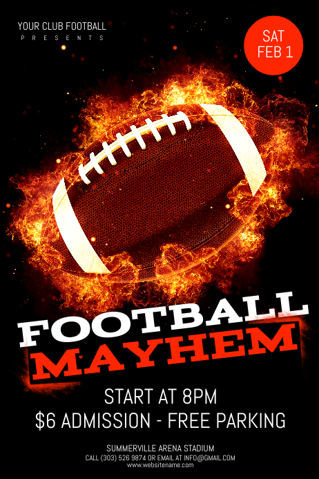 Football Mayhem Poster Template | Postermywallmayhem Flyer