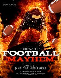 Football Mayhem Flyer. American Football Template