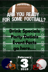 Football Party Bar Flyer Fantasy Football Poster Super Bowl
