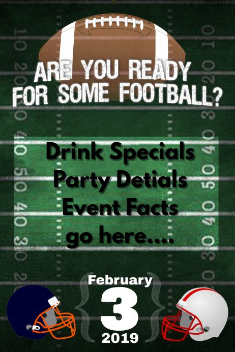 Football Party Bar Flyer Fantasy Football Poster Super Bowl