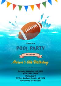 Football pool birthday party theme invitation A6 template