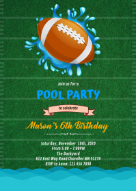 Football Pool Party invitation A6 template