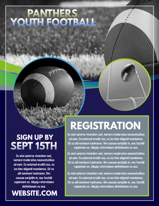 Football Registration Pamflet (Letter AS) template