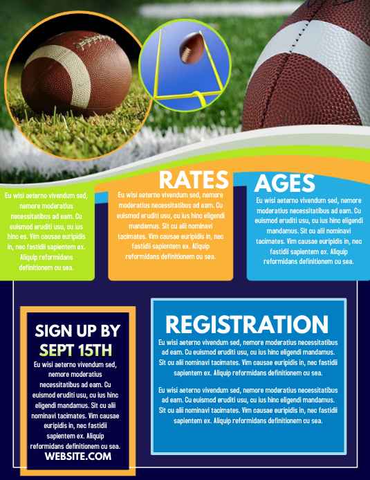 Football Registration Volantino (US Letter) template