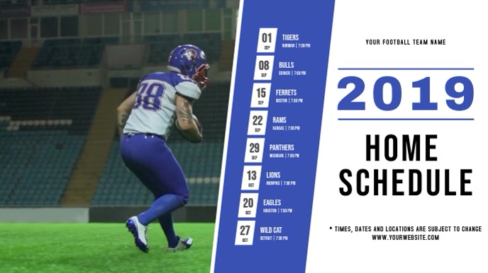 Football Schedule Digital Display Video template