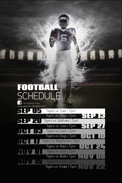 copy of football schedule postermywall. Black Bedroom Furniture Sets. Home Design Ideas