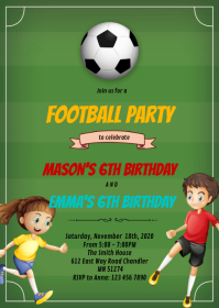 Football soccer boy girl party invitation A6 template