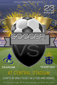 football soccer game poster flyer template