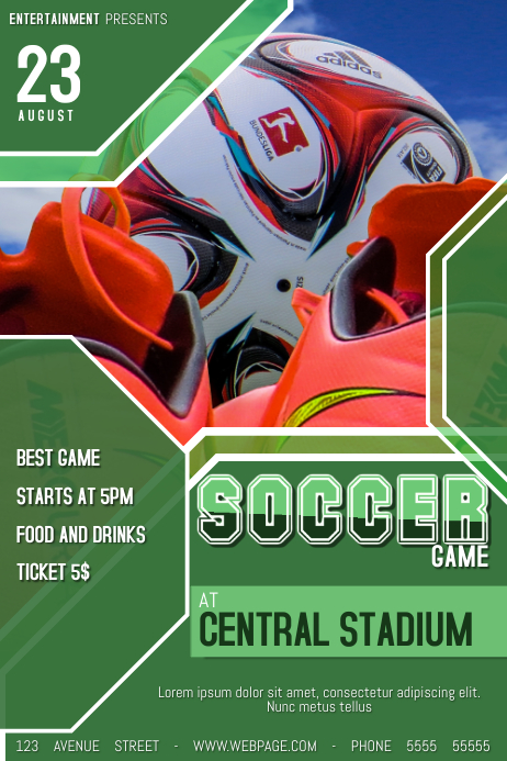 football soccer game flyer template