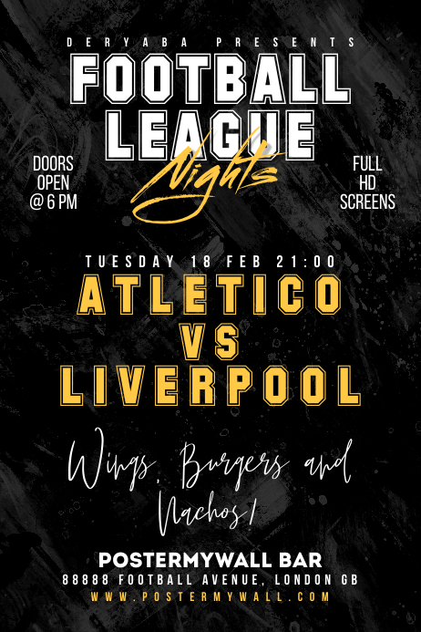 Football Soccer Match Bar Promo Flyer Poster