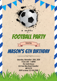 Football soccer party invitation A6 template