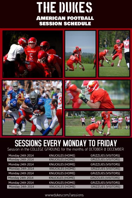 Football Sports Team Schedule Template