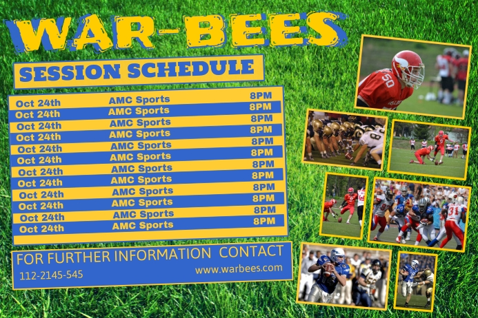 football sports team schedule template postermywall