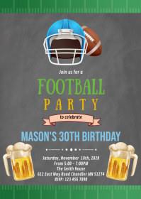 Football super bowl party invitation A6 template