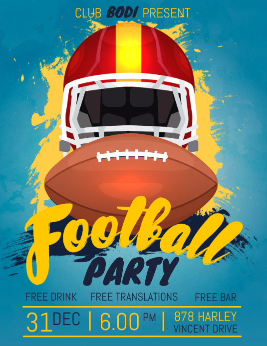 Football Tailgate Party Screening Flyer 传单(美国信函) template