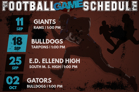 Football Team Event Schedule Game VS Party Tailgate Sports