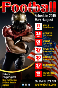 Football Team Schedule Poster