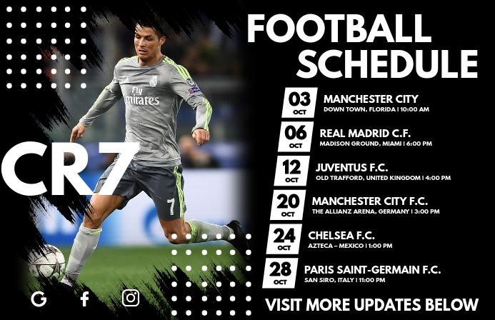 Football Team Schedule Template Tabloid