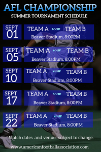 football tournament schedule Poster template