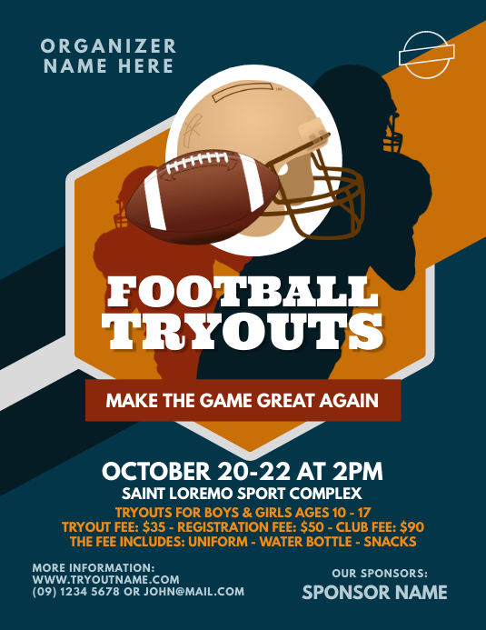 football tryouts flyer template postermywall