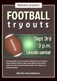 Football tryouts poster