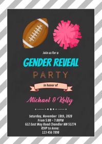 Footballs or Pom Poms gender reveal card