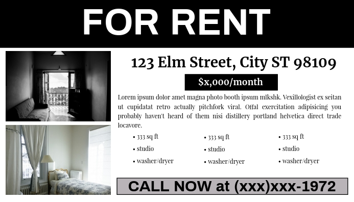 For Rent Classified Ad (#MDsgn) Visitekaartje template