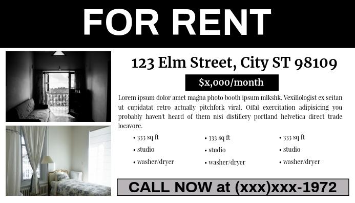 For Rent Classified Ad (#MDsgn) Cartão de visita template