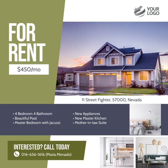For Rent Real Estate Instagram Ad Template