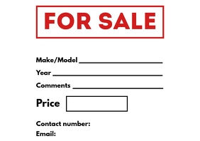 For Sale Car Sign Printable A4 template