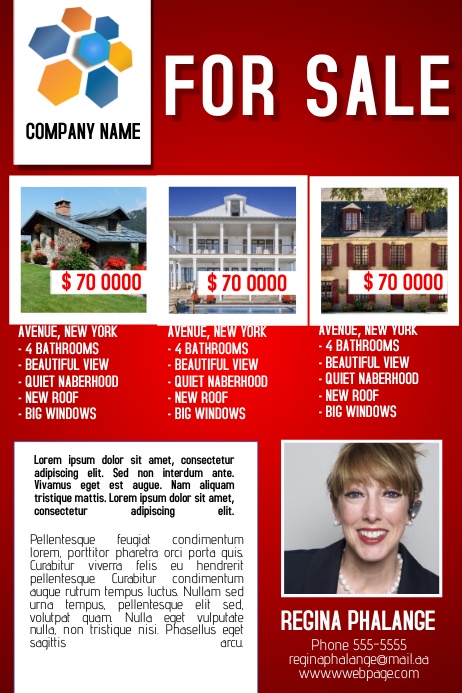 for sale real estate red business service flyer template