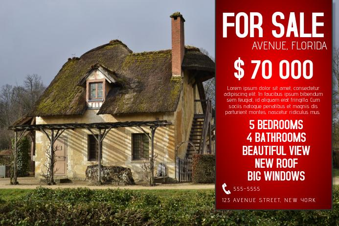 for sale single house real estate flyer template landscape