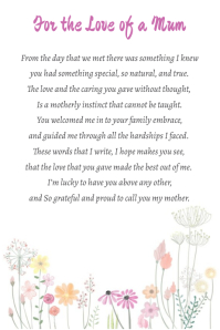 For the Love of a Mum Poem