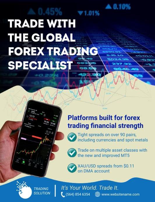 Forex Trading Flyer Folder (US Letter) template