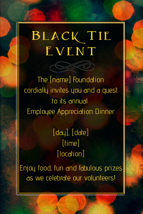 formal black tie dinner dance party fundraiser flyer