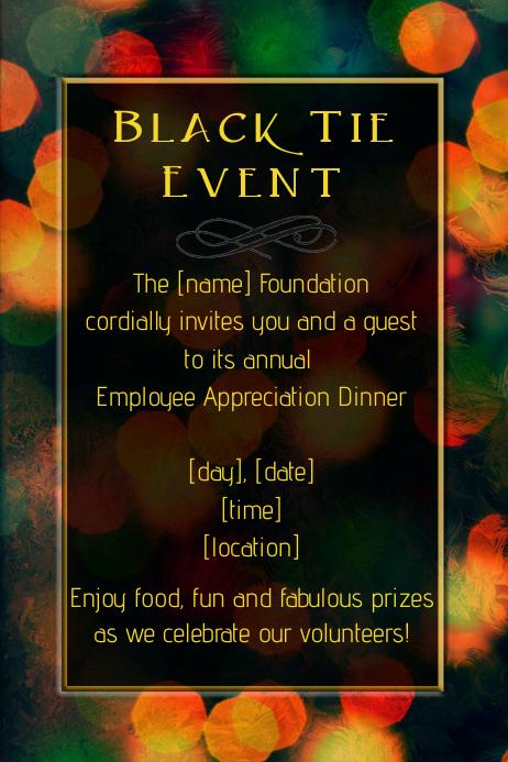 Formal Black Tie dinner dance party fundraiser flyer poster