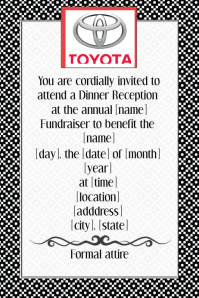 Formal Black Tie Dinner Reception Fundraiser Invitation