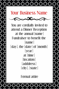 Formal Black Tie Dinner Reception Volunteer Invitation Flyer