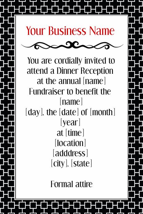 formal black tie dinner reception volunteer invitation