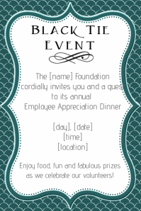 Formal Black Tie Employee Appreciation Dinner Invitation