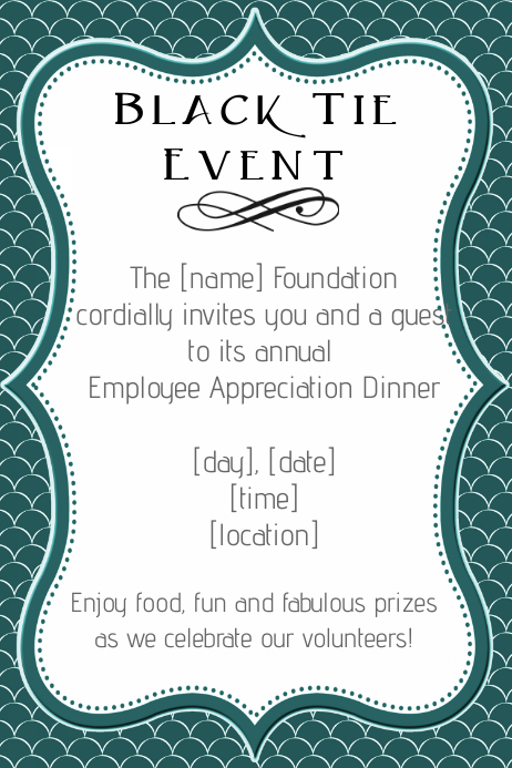 Formal Black Tie Employee Appreciation Dinner Invitation Template